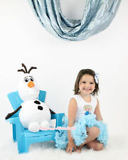 Snow Princess Elsa Print White Pettitop Light Blue Baby Girl Pettiskirt 1-8Year