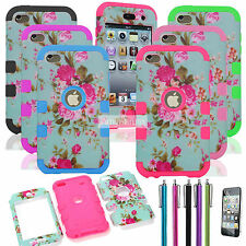 For iPod Touch 4 4th Gen Hybrid Impact Rugged Rubber Hard Soft Case Cover Flower
