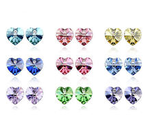 18K White Gold Plated Heart Earrings Studs made with Swarovski Crystals