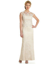 KM Collections Vanilla/Ivory Lace & Taffeta Long Formal Special Gown Dress New