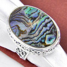 Huge Natural Abalone Shell Gemstone Vintage Style SIlver RIngs