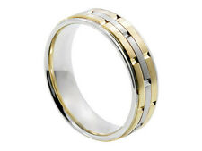 2TONE 18K WHITE YELLOW GOLD ROLEX INSPIRED 6.5mm COMFORT FIT WEDDING BAND