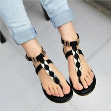 Hot Women's T-Belt Flat Sandals Slippers Summer Fashion Metal Decoration Shoes