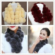 Hot Fashion women Real Rex rabbit fur POM POM fur handmade Scarf Shawl Muffler