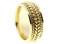14K YELLOW GOLD BRAIDED 8mm COMFORT FIT WEDDING BAND