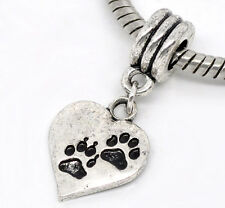 Wholesale Lots Dog  Paw Carved Heart Dangle Beads Fit Charm Bracelet