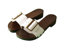 UNIQUE HAND MADE CLOG WOODEN SOLE - GENUINE LEATHER