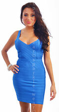 New blue bodycon quality cocktail celebrity bandage dress solid size 6-14 uk