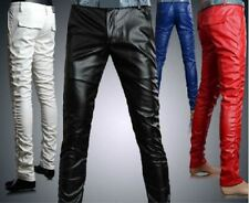 Mens Personality Slim Trousers Fight Skin Fashion Jeans faux Leather Pants