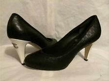 CHANEL 2014 14S Perforated Black Leather White Patent Heels Pumps Shoes $795