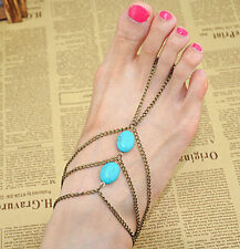 Barefoot anklet Footless Sandals Anklet Toe Ring Foot Jewelry Yoga Boho Bohemia