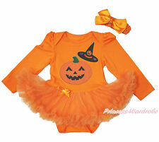 Halloween Witch Hat Pumpkin Print Orange L/S Bodysuit Girl Baby Dress NB-18Month