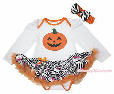 Halloween Pumpkin Print Long Sleeves Bodysuit Zebra Girl Baby Dress NB-18Month