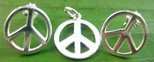 925 sterling silver round PEACE sign SYMBOL round stud EARRINGS or PENDANT