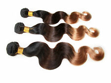 Brazilian Human Hair Ombre Hair 3tone Color 1B/4/27#,Body Wave 100g/pc,Remy Hair