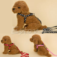 Small Dog Pet Puppy Cat Adjustable Nylon Harness with Lead leash 5 Colors