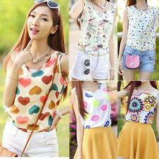 Sweet Women Cute Chiffon Floral Print Vest Tank Tops Sleeveless Shirt Blouse