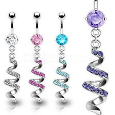 Navel Belly Ring with Gem Paved Dangle Spiral Swirl 4 Colors - Fast Shipping