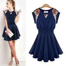 Womens Girl Vintage Floral Ruffle Evening Cocktail Party Prom Summer Mini Dress