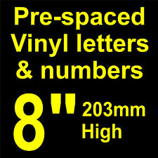 """QTY of: 1 x 8"""" 203mm HIGH STICK-ON  SELF ADHESIVE VINYL LETTERS & NUMBERS"""