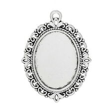 Wholesale Lots Silver Tone Oval Cameo Frame Setting Pendants 39x29mm
