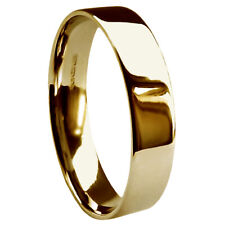5mm 9ct Yellow Gold UK HM Med. Heavy & Extra Heavy Flat Court Wedding Band Ring
