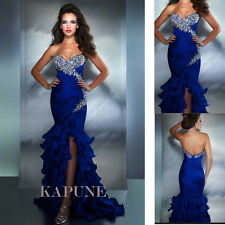 Sexy Blue Mermaid Long Bridal Gowns Formal Evening Prom Dresses Silt Sweetheart