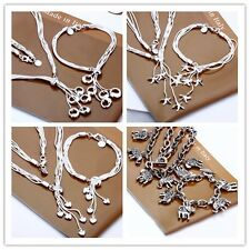 Free hot neutral Necklace&Bracelet group of 18inch & 7.5inch silver EP 5charm