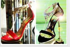 New stiletto Ankle Strap Sandals Black/Red Gold womens high heels open toe shoes