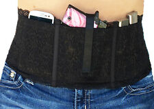 Ladies Womens Concealed Carry Lace Waistband Gun Holster-Hidden Heat Lace-Black