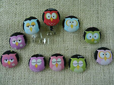 Colorful Owls on Black~Retractable ID/Name Badge Holder Reel~Pick One