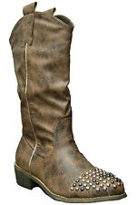 Womens Brown Distressed Studded Cowboy Boot