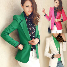 Korean Womens Blazer Suit Slim One Button Shrug Casual Jacket Coat Outwear