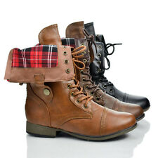 Legend8 Military Round Toe Lace Up Plaid Fold Over Ankle Cuff Boots