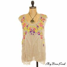 FREE PEOPLE SUMMER NIGHTS BEADED EMBROIDERED FLORAL TEA COMBO TOP XS S M L B7