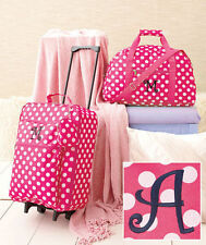 3 Pc Girl's Monogram Luggage Set Rolling Suitcase Duffel & Clutch Choose Initial