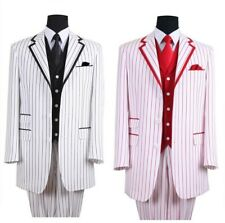 Milano Moda Men's 3 piece Luxurious striped Suit Blue Black Red Turquoise 5908V