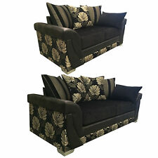 BRAND NEW LUSH FLORA  3+2 SEATER SOFAS - BLACK AND FLORAL WITH FAUX LEATHER
