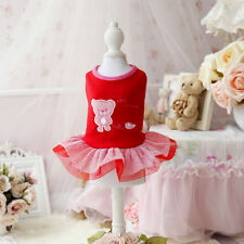 Lace Dog Dress Clothes For Dogs Chihuahua Teddy Pet Small Dog Cat Clothes Red