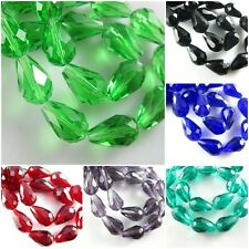 25pcs Teardrop Crystal Faceted Spacer Charm DIY Jewelry Finding Beads 12x18mm