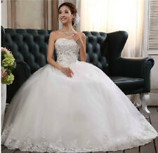 Strapless Brides Wedding Dress Show Gown Bandage Adjustable Sequined Decoration