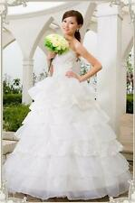 New Strapless Organza Wedding Dress/Lace Cascading Embroidery Ruffle Bridal Gown