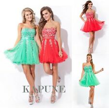 New Beaded Net Short Prom Homecoming Evening Cocktail Party Dresses Strapless