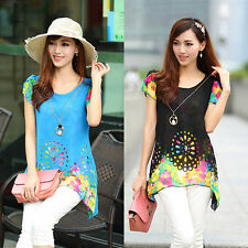 Hot Women Lady Short Sleeve Shirt Floral Blouse Casual Chiffon Long Loose Tops