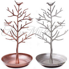 Retro Bird Tree Jewelry Earrings Ring Stand Holder Show Rack Necklace Display S