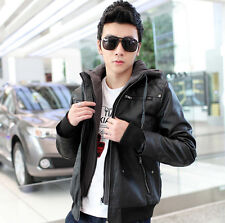 HOT NEW Mens warm hooded Removable capt jacket coat faux leather hoodie Outwear
