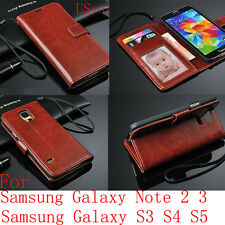 Luxury PU Leather Wallet Flip S-VIEW Case Stand Cover For Samsung Galaxy