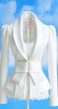 Women's Long Sleeved Blazer Jacket Coat with Ruched Shoulders SizeS,M,L,XL White