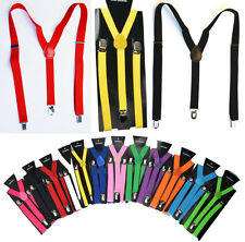Men Ladies Trouser Braces Suspenders Slim Unisex Fancy Dress Clip On Adjustable