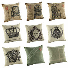 "Vintage Cushion Cover Throw Pillow Case Cotton Linen 18"" Decorative Decor"